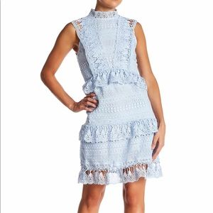 Endless Love Mock Neck Lace A-Line dress